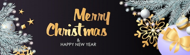 Prettige kerstdagen en gelukkig nieuwjaar ontwerp met sprankelende bollen Gratis Vector