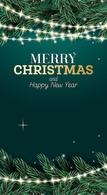 Prettige kerstdagen en gelukkig nieuwjaar poster Premium Vector