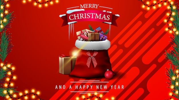 Prettige kerstdagen en gelukkig nieuwjaar, rode wenskaart met slinger frame en rode vintage auto met kerstboom Premium Vector