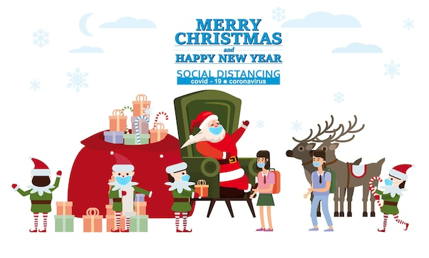 Prettige kerstdagen en gelukkig nieuwjaar santa claus met zijn elf helpers en herten geeft geschenken aan kinderen in zijn woning Premium Vector