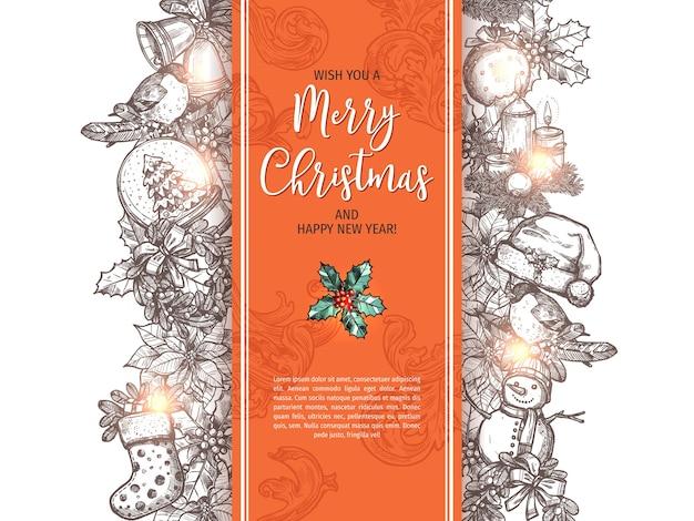 Prettige kerstdagen en gelukkig nieuwjaar schets wenskaart, poster of achtergrond. Premium Vector