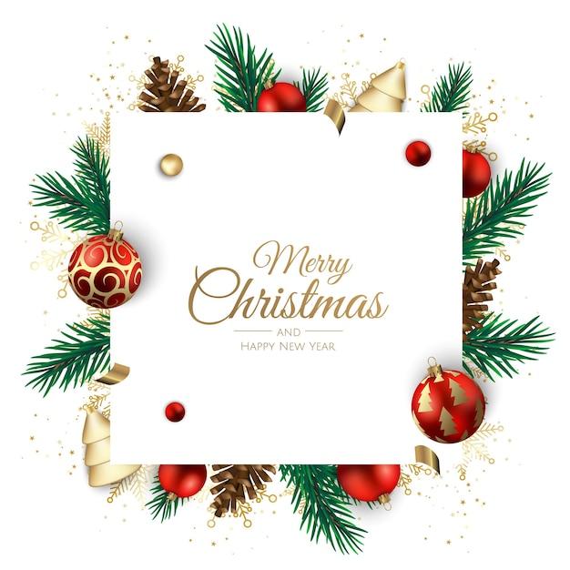 Prettige kerstdagen en gelukkig nieuwjaar vakantie witte banner illustratie. Premium Vector