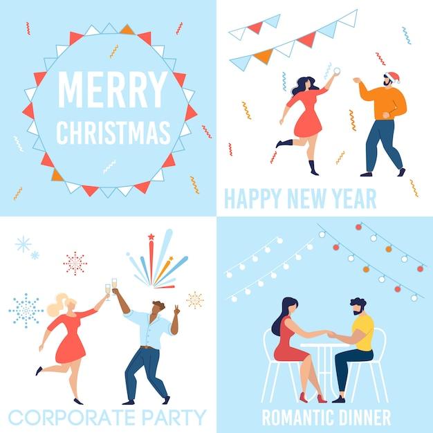 Prettige kerstdagen en gelukkig nieuwjaar viering set Premium Vector