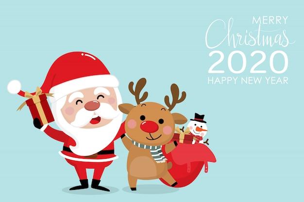 Prettige kerstdagen en gelukkig nieuwjaar wenskaart 2020 Premium Vector
