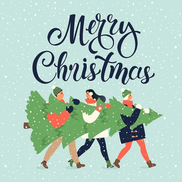 Prettige kerstdagen en gelukkig nieuwjaar wenskaart. de mensen groeperen samen dragende grote kerstmispijnboomboom voor vakantieseizoen met ornamentdecoratie, giften. Premium Vector