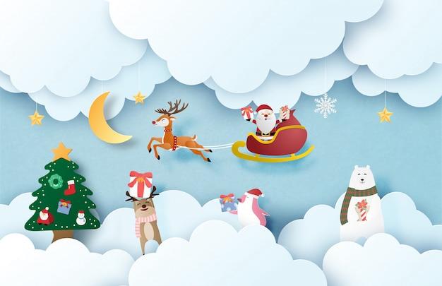 Prettige kerstdagen en gelukkig nieuwjaar wenskaart in papier gesneden stijl. kerstmisvieringsachtergrond met gelukkige santa claus en gelukkige dierlijke jonge geitjes. Premium Vector