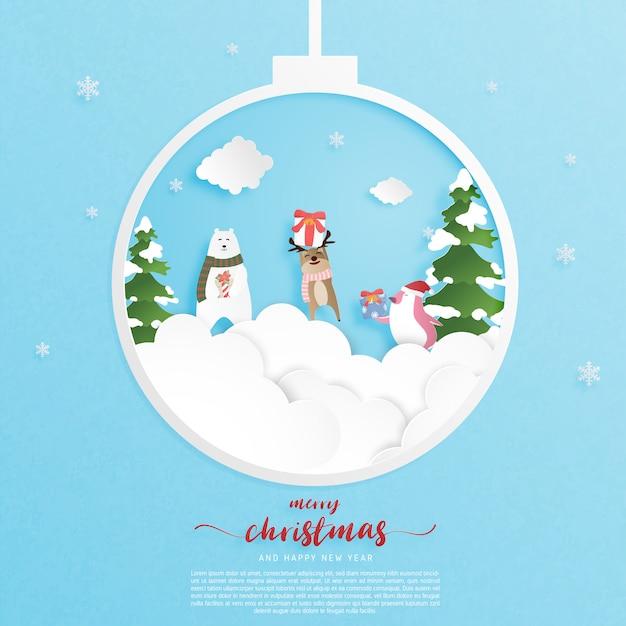 Prettige kerstdagen en gelukkig nieuwjaar wenskaart in papier gesneden stijl. Premium Vector