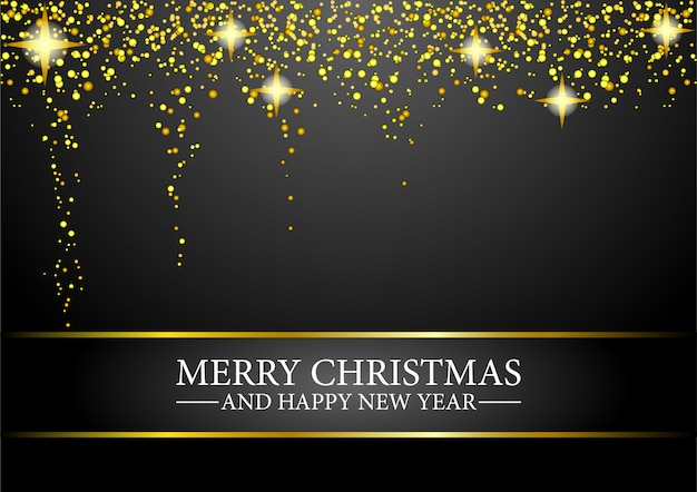 Prettige kerstdagen en gelukkig nieuwjaar wenskaart met glitter gouden confetti. Premium Vector