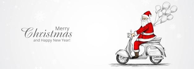 Prettige kerstdagen en gelukkig nieuwjaar wenskaart met hand getrokken kerstman op een scooter rijden Gratis Vector