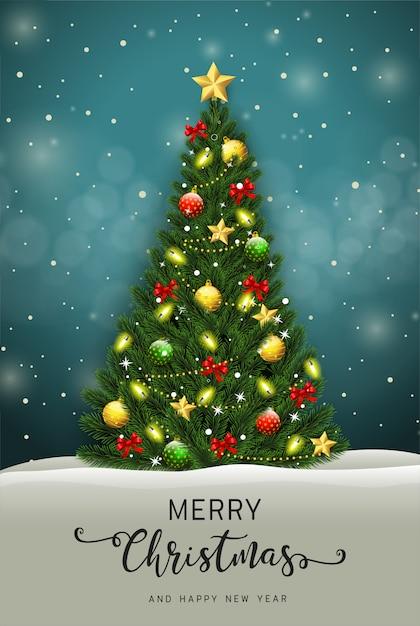 Prettige kerstdagen en gelukkig nieuwjaar wenskaart met kerstboom vector Premium Vector