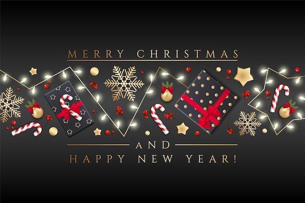 Prettige kerstdagen en gelukkig nieuwjaar wenskaart met kerstverlichting, gouden sterren, sneeuwvlokken Premium Vector