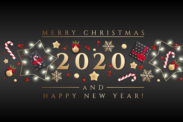 Prettige kerstdagen en gelukkig nieuwjaar wenskaart met kerstverlichting Premium Vector