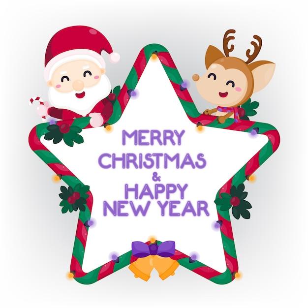 Prettige kerstdagen en gelukkig nieuwjaar wenskaart met schattige kerstman en rendieren. Premium Vector