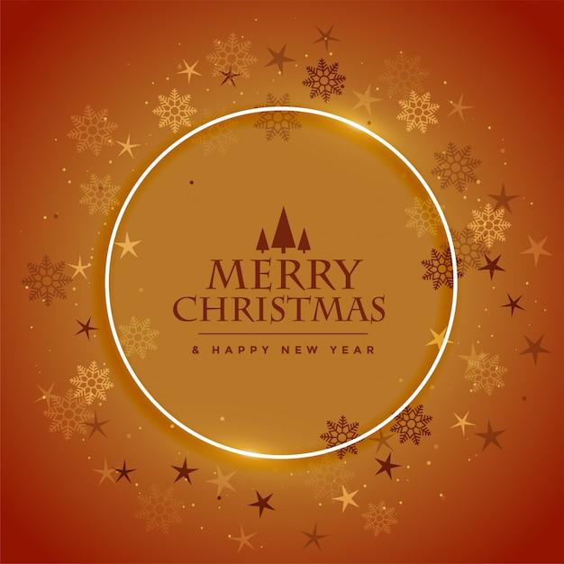 Prettige kerstdagen en gelukkig nieuwjaar wenskaart met sneeuwvlokken frame bruin ontwerp Gratis Vector