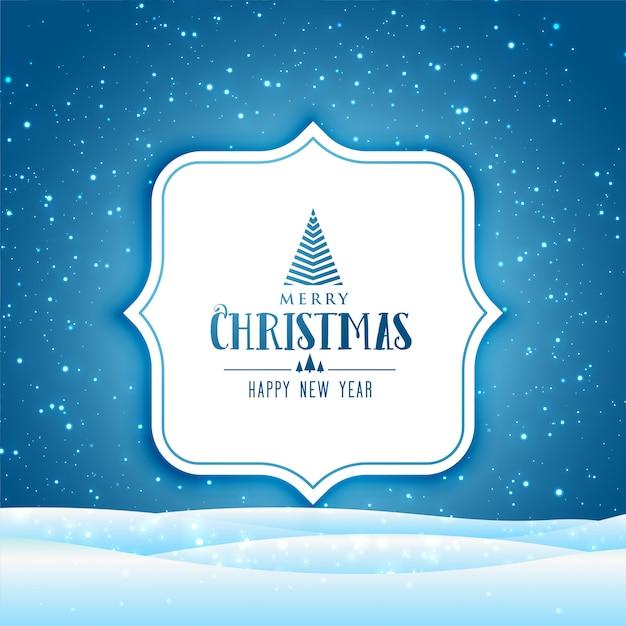 Prettige kerstdagen en gelukkig nieuwjaar wenskaart met winters tafereel met vallende sneeuw Gratis Vector