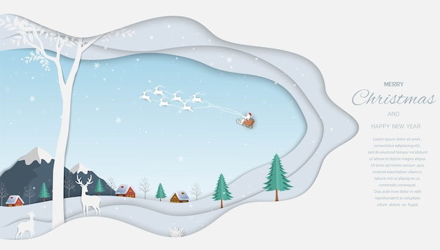 Prettige kerstdagen en gelukkig nieuwjaar wenskaart, rendieren met de kerstman op winter achtergrond Premium Vector