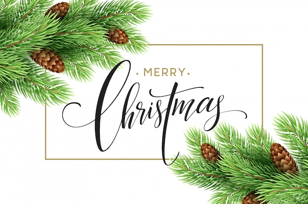 Prettige kerstdagen en gelukkig nieuwjaar wenskaart, vectorillustratie. Premium Vector