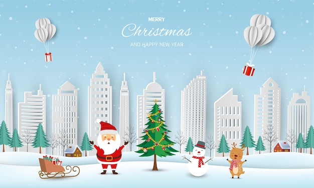 Prettige kerstdagen en gelukkig nieuwjaar wenskaart, winterlandschap met de kerstman en vrienden Premium Vector