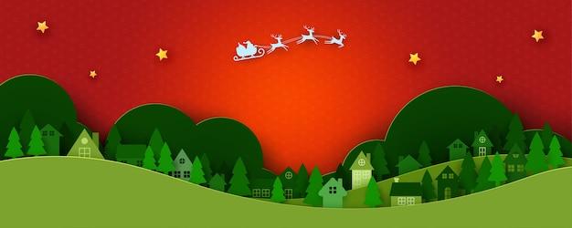 Prettige kerstdagen en gelukkig nieuwjaar winter landschap-achtergrond, santa claus in slee en stedelijk platteland papier kunst Premium Vector