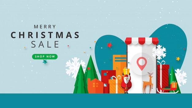 Prettige kerstdagen en gelukkig nieuwjaar. winter online op website of mobiele applicatie verkoop banner sjabloon banner. Premium Vector