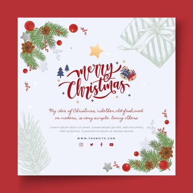 Prettige kerstdagen en gelukkige feestdagen vierkante flyer Gratis Vector