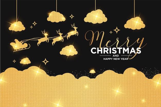 Prettige kerstdagen en nieuwjaarskaart met luxe kerstdesign Gratis Vector