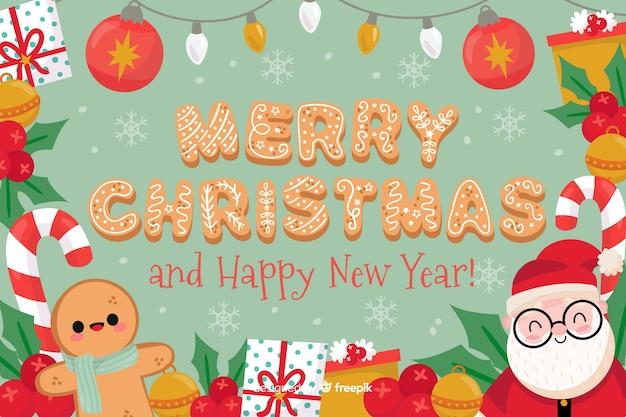 Prettige kerstdagen gelukkig nieuwjaar achtergrond Gratis Vector