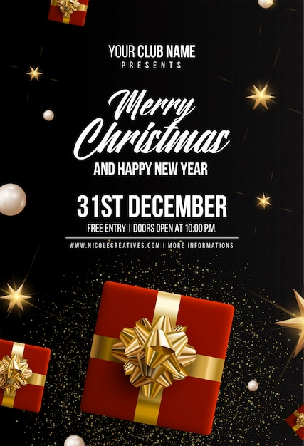 Prettige kerstdagen & gelukkig nieuwjaar zwarte uitnodigingskaart, poster of sjabloon folder Premium Vector