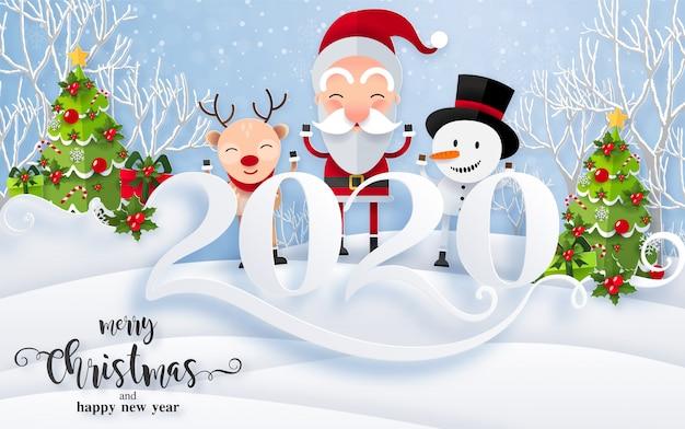 Prettige kerstgroeten en gelukkig nieuwjaar 2020-sjablonen met prachtige winter en sneeuwval patroon gesneden papier kunst. Premium Vector