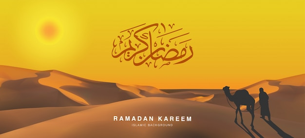 Prettige vakantie eid mubarak ramadan kareem kalligrafie geschreven in het arabisch. illustratie van een reiziger silhouet met zijn kameel in de woestijn in oranje tint Premium Vector