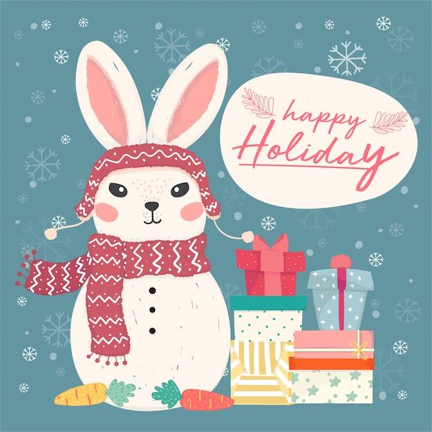 Prettige vakantie wenskaart. leuke platte vector bunny sneeuwpop met stapel geschenkdozen en sneeuwvlok vallen Premium Vector
