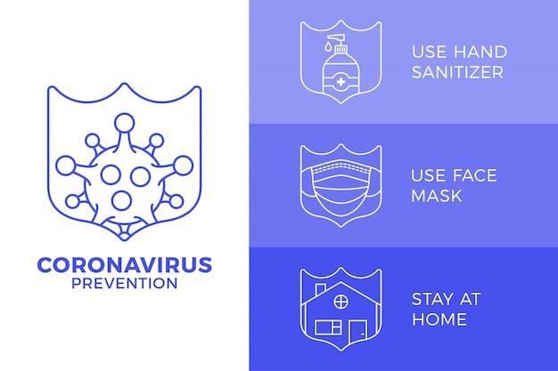 Preventie van covid-19 alles in één pictogram posterillustratie. coronavirus bescherming flyer met overzicht pictogramserie. blijf thuis, gebruik een gezichtsmasker, gebruik een handdesinfecterend middel Premium Vector