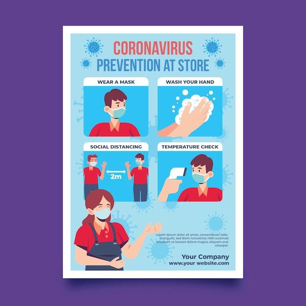 Preventieposter om gezond te zijn in winkels Gratis Vector