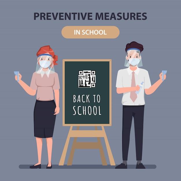 Preventieve maatregel in schoolconcept met leraarskarakter. terug naar school in quarantaine. Premium Vector