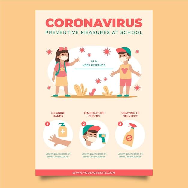 Preventieve maatregelen op school poster sjabloon Premium Vector