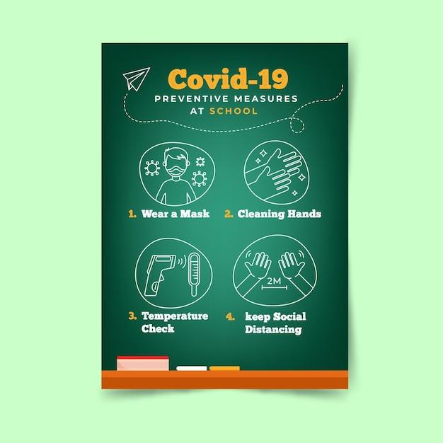 Preventieve maatregelen op school - poster Gratis Vector