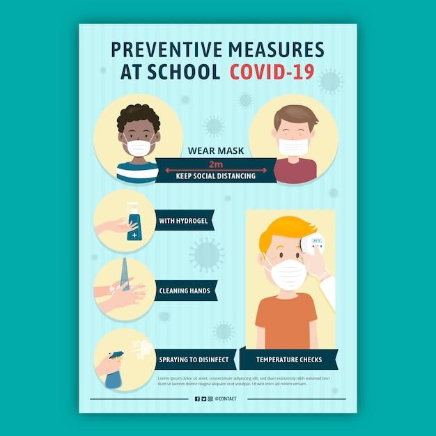 Preventieve maatregelen op schoolposter Gratis Vector