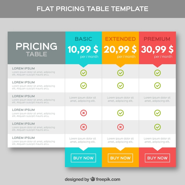 Pricing tafels template in plat design Premium Vector