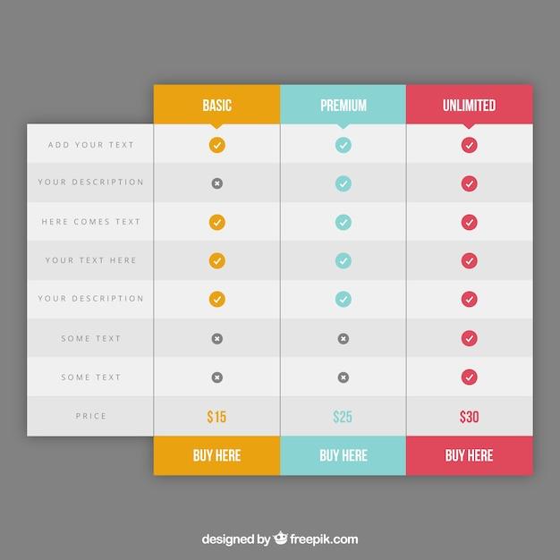 Pricing tafels web element Gratis Vector
