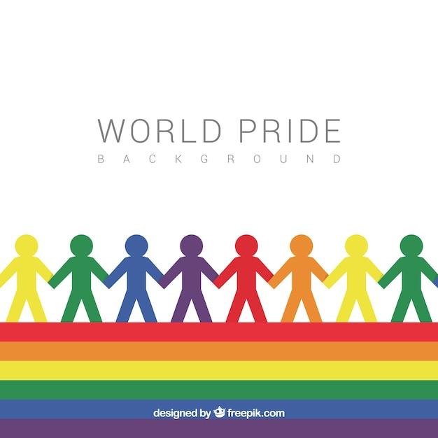 Pride dag achtergrond met silhouetten van kleuren Gratis Vector