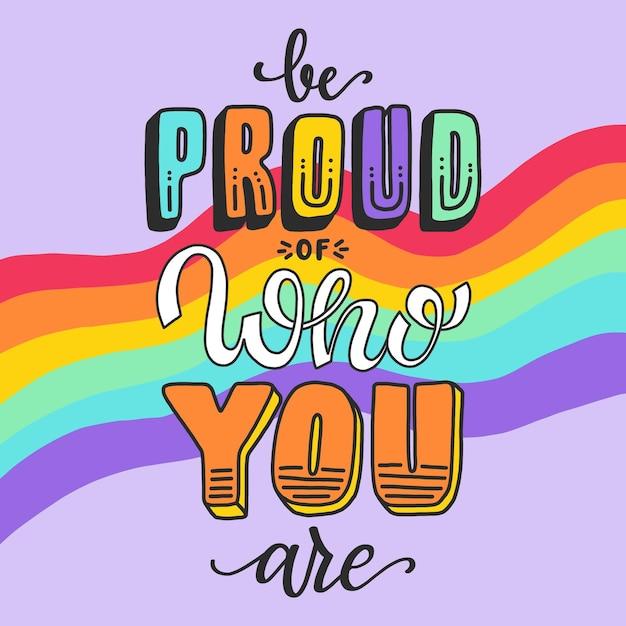 Pride day belettering met bericht Gratis Vector