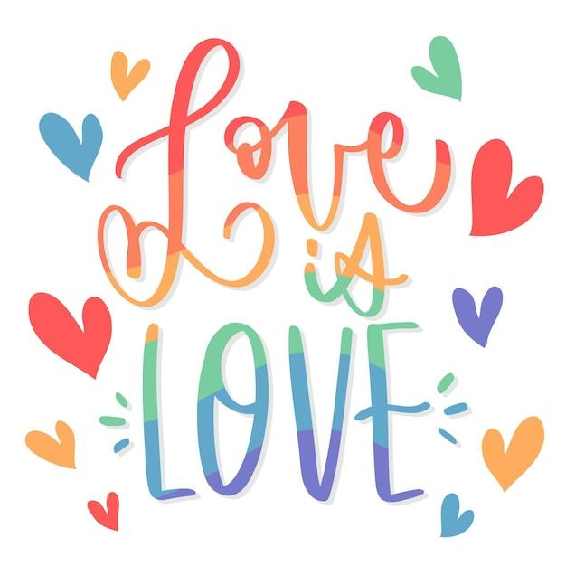 Pride day belettering met liefde en harten Gratis Vector