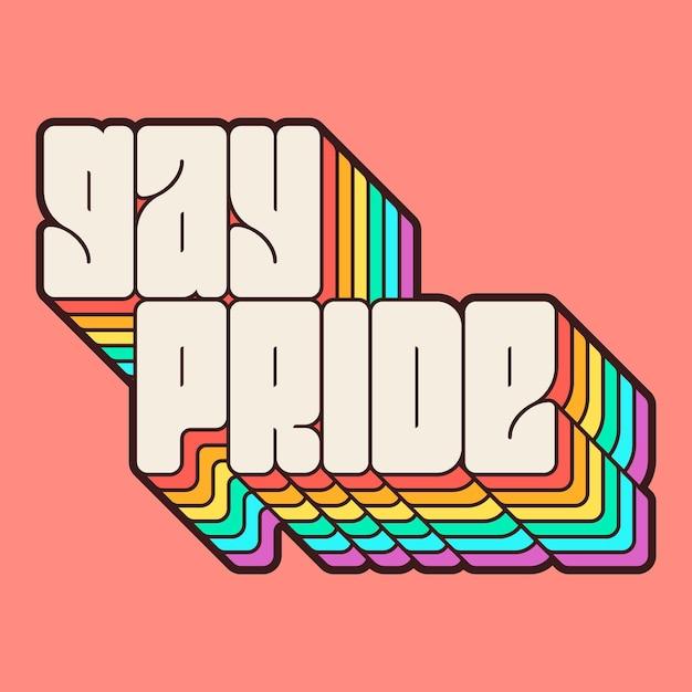 Pride day belettering met regenboog Gratis Vector