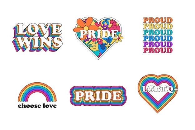 Pride day creatieve labels instellen Gratis Vector