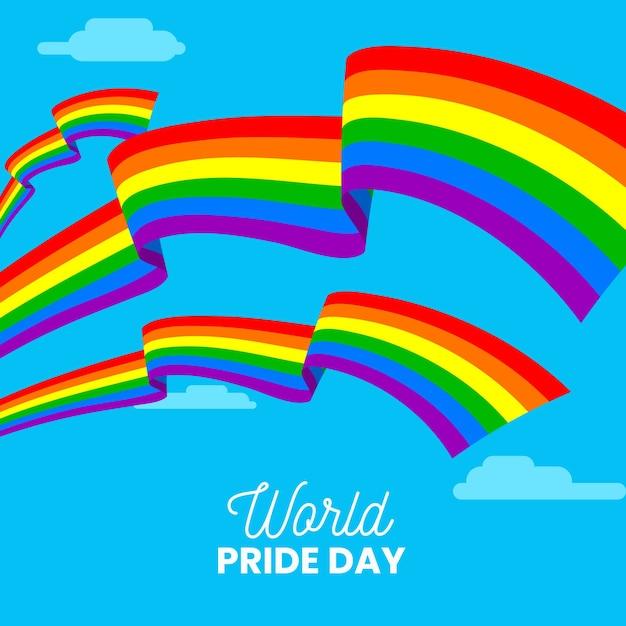 Pride day-evenement met vlag Gratis Vector
