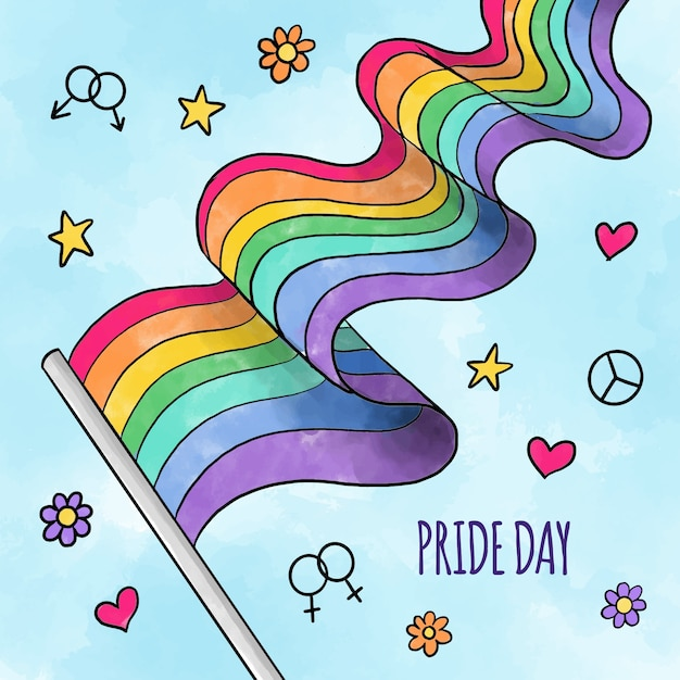 Pride day hand getekende stijl vlag Gratis Vector