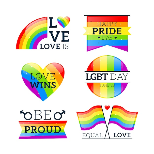 Pride day labels-collectie Gratis Vector