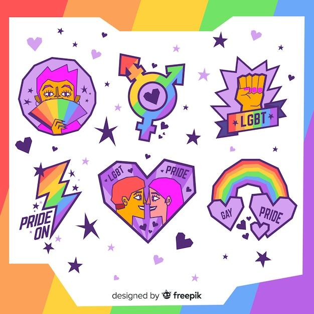 Pride day labels-collectie Gratis Vector