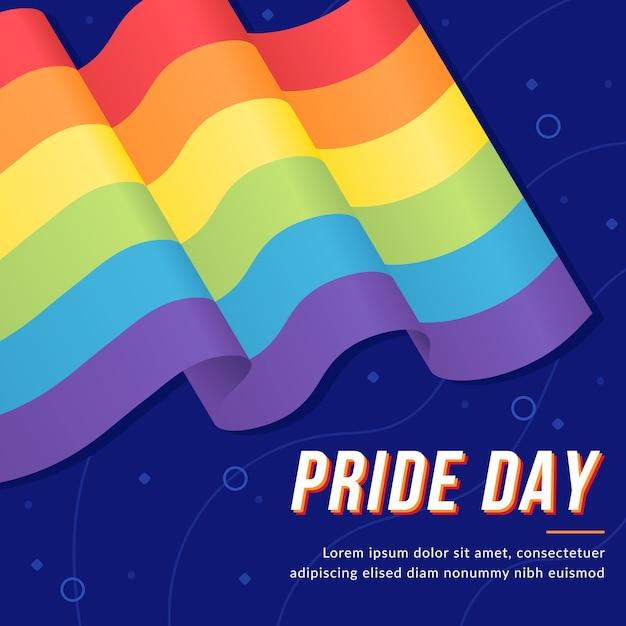 Pride day vlag realistisch ontwerp Gratis Vector