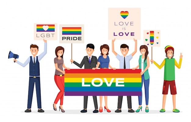 Pride parade demonstranten platte vectorillustratie. beeldverhaal mannelijke, vrouwelijke activisten die regenboog houden Premium Vector